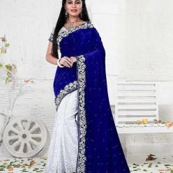 Multicoloured Velvet Saree